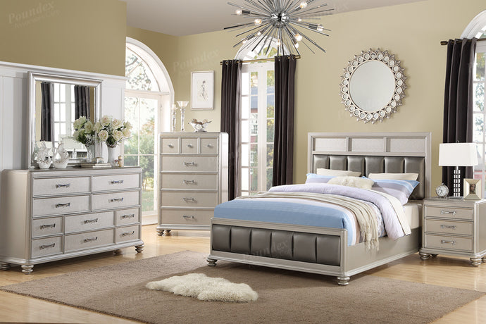 Silver Finish Eastern King Bed Poplar Wood Poundex