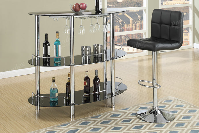 Black Glass Top Finish 3 Piece Bar Set Poundex