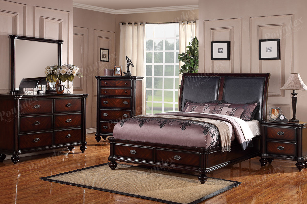 Poundex Dark Brown Finish 5 Piece Queen Bedroom Set