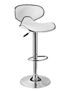 Powell White Adjustable PU Barstool