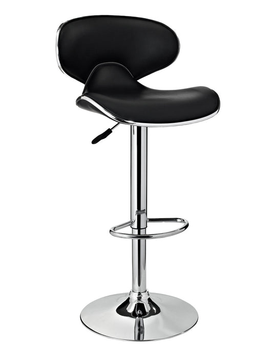 Powell Chrome and Black PU Barstool