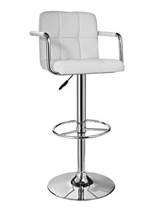 Powell White and Chrome Quilted Barstool