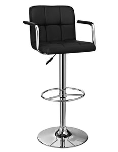 Powell Black and Chrome Quilted Barstool