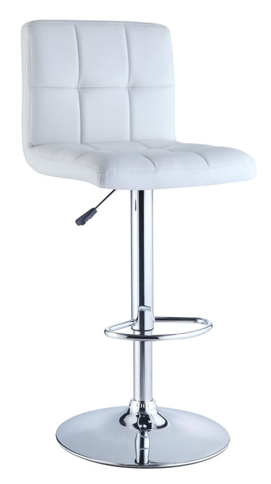 Powell White  PU and Chrme Barstool