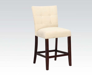 Acme Baldwin Beige Microfiber And Wood Finish 2 Piece Counter Height Chair
