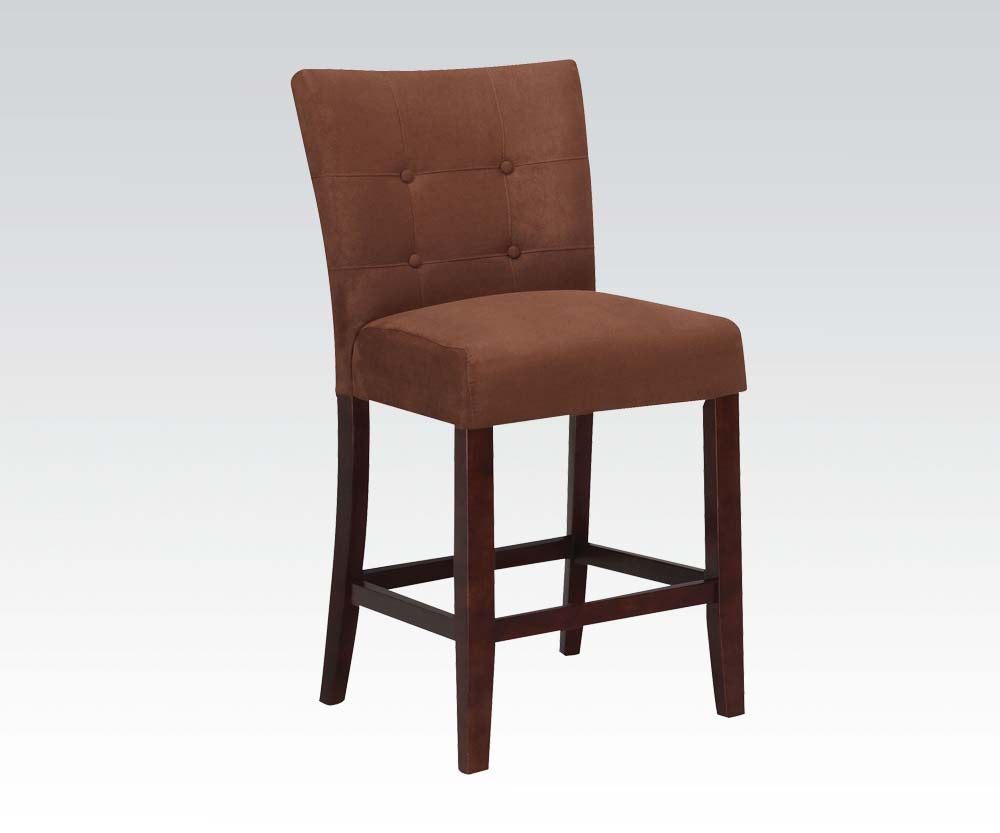 Acme Baldwin Chocolate Microfiber And Wood Finish 2 Piece Counter Height Chair