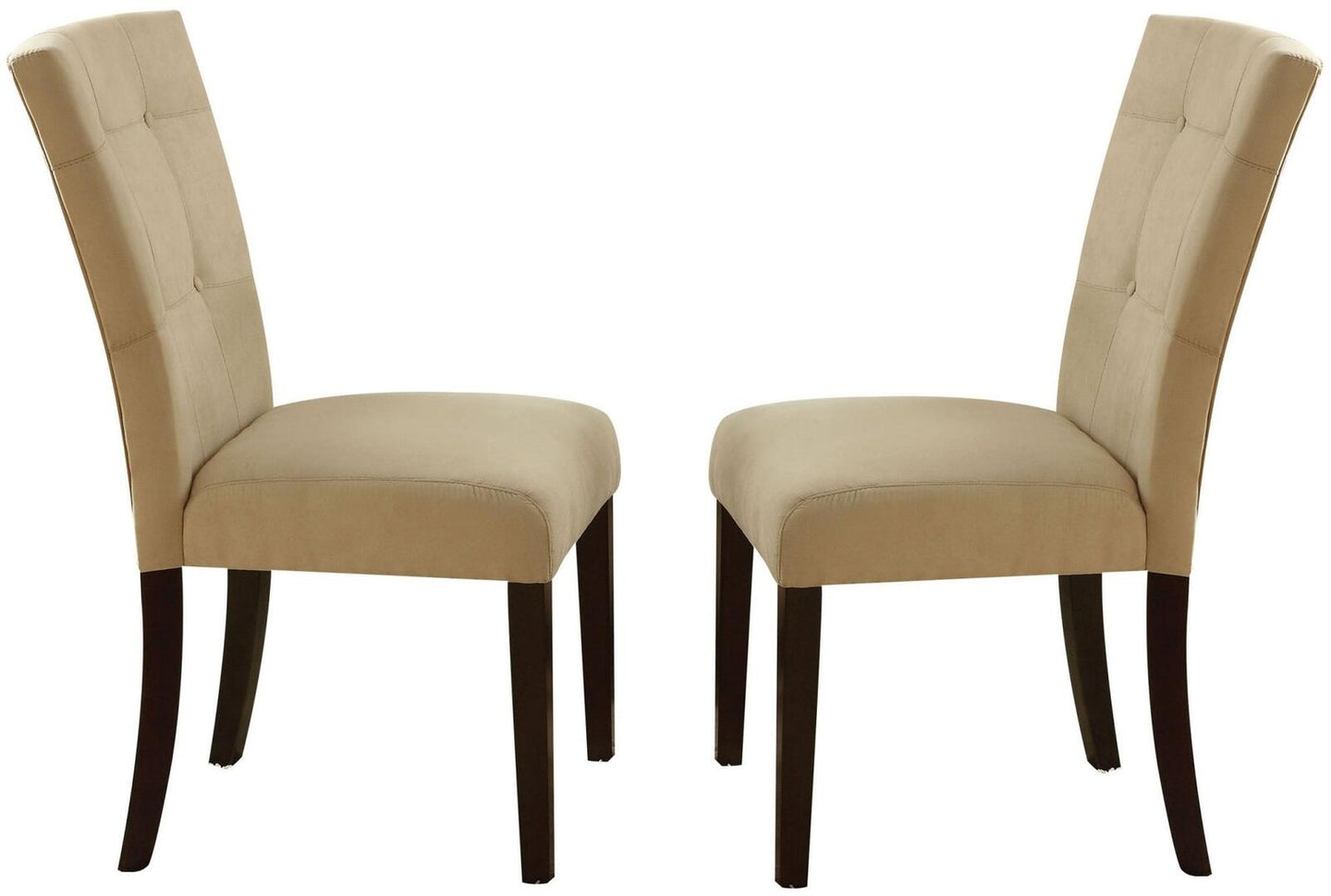Acme Baldwin Beige Microfiber And Wood Finish 2 Piece Dining Chair
