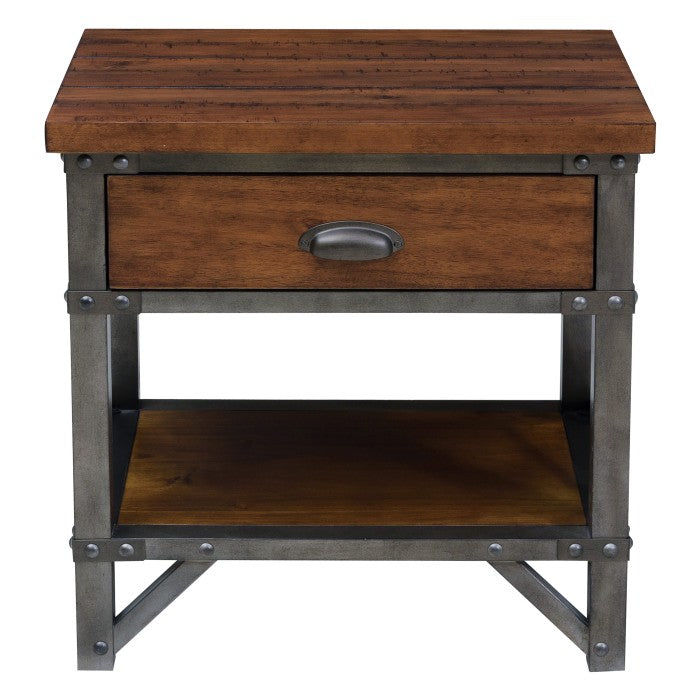 Homelegance Holverson Brown Wood And Metal Finish Nightstand