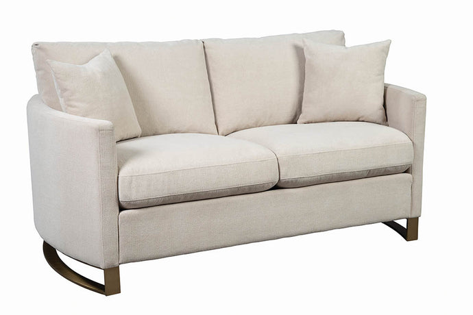 Homy Living Corliss Beige Chenille And Wood Finish Loveseat