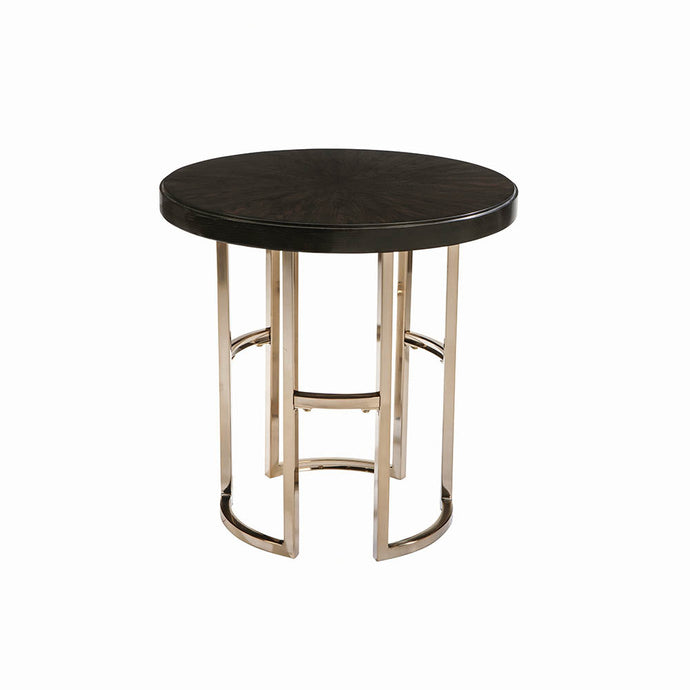Homy Living Corliss Brass Wood And Metal Finish End Table