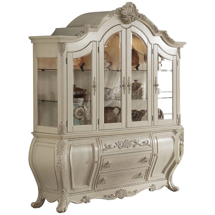 Acme 61284 Ragenardus Antique White Wood Finish Storage China Cabinet
