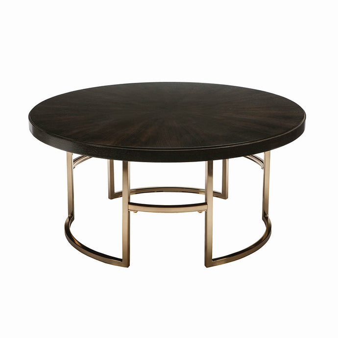 Homy Living Corliss Brass Wood And Metal Finish Coffee Table