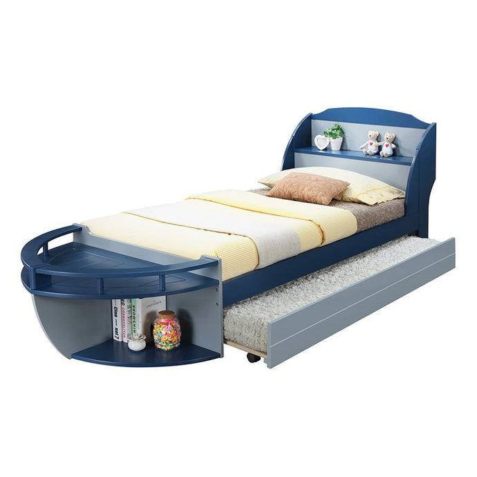 Acme 30620T Neptune II Navy And Gray Twin Storage Boat Bed With Trundle