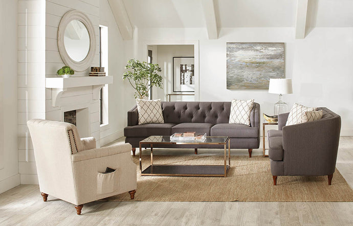 Homy Living Shelby Beige Linen And Wood Finish Loveseat
