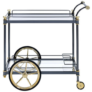 Acme 98370 Cyrus Black Glass Metal Finish Modern Service Cart