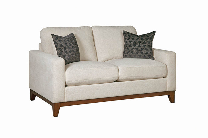 Homy Living Monrovia Beige Chenille And Wood Finish Loveseat