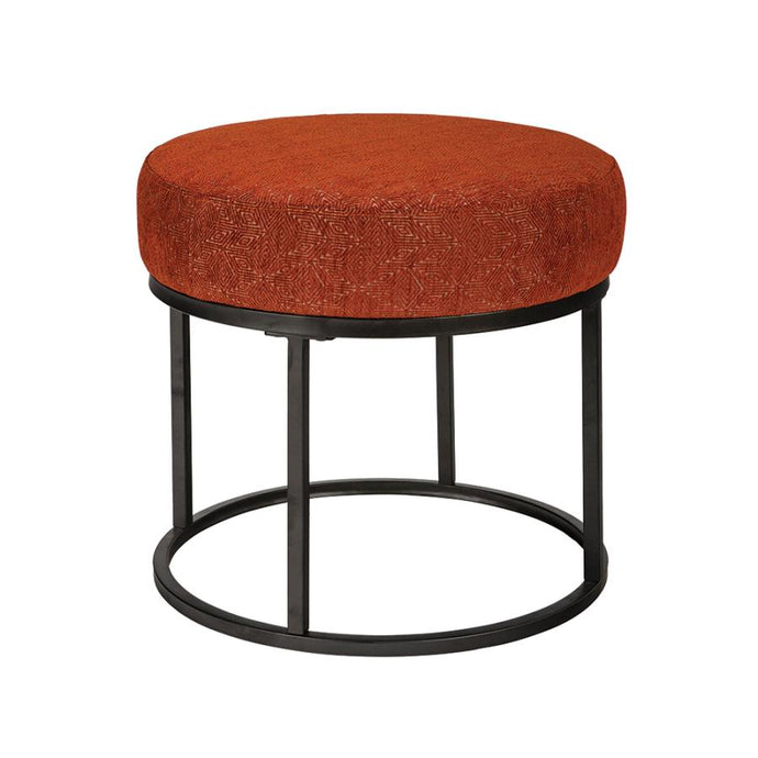 Homy Living Monrovia Walnut And Orange Polyester Wood Finish Ottoman