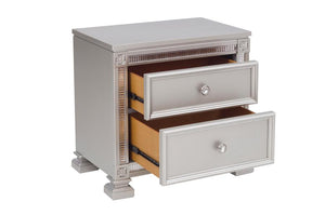 Homelegance Bevelle Silver Wood Finish Nightstand