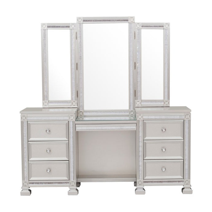 Homelegance Bevella Silver Wood Finish Vanity Dresser with Mirror