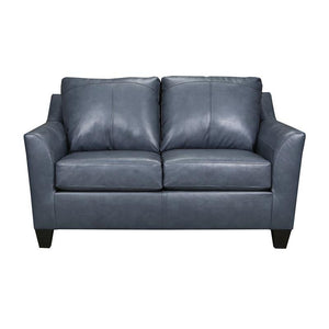 Acme Cocus Steel Blue Grain Leather Finish Loveseat