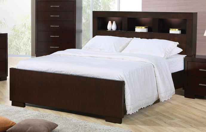 Jessica Cappuccino Queen Bed with Bookcase Headboard