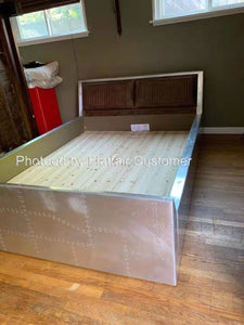 Acme Brancaster Vintage Brown Leather Queen Storage Bed