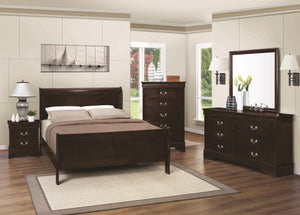 Coaster Louis Philippe Cappuccino 4 Piece Full Bedroom Set