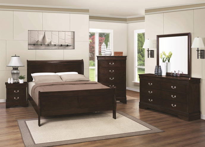 Coaster Louis Philippe Cappuccino 4 Piece Queen Bed Bedroom Set