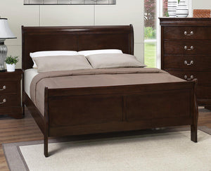 Louis Philippe Cappuccino Queen Sleigh Panel Bed