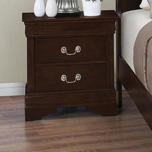 Coaster Louis Philippe Cappuccino 2 Drawers Nightstand w Silver Bails