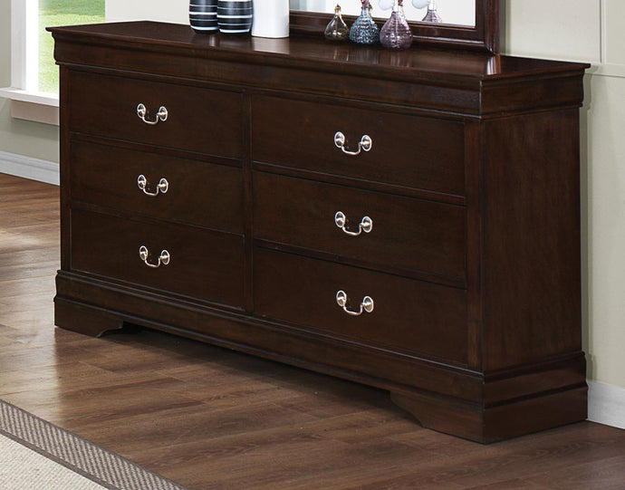 Coaster Louis Philippe Cappuccino 6 Drawers Dresser with Silver Bails