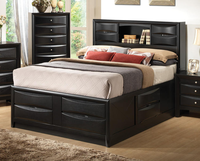 Coaster Briana Black Eastern King Storage Bed with Bookcase Headboard