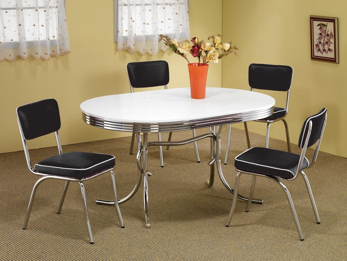 Coaster Cleveland 5 Piece Chrome Plated Oval Dining Table Set With Black Chairs