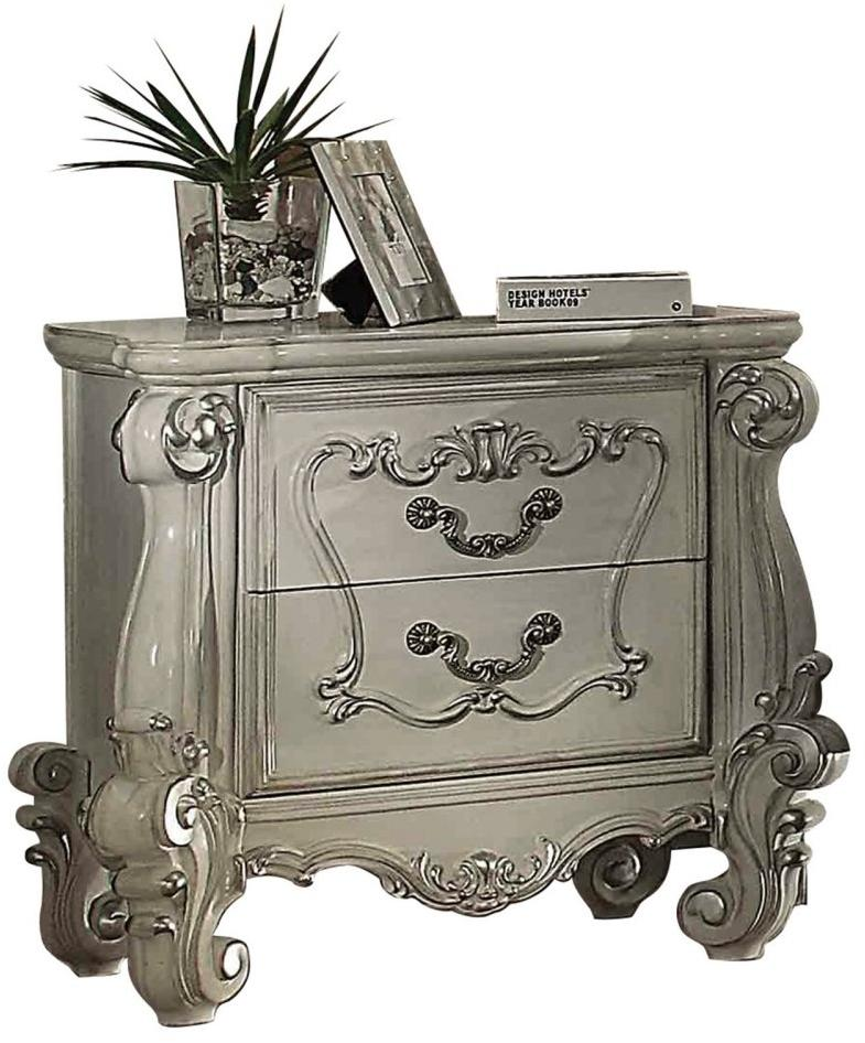 Acme Versailles Bone White Wood Drawer Nightstand