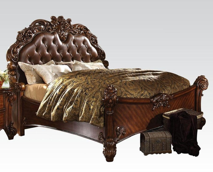 Acme Vendome Cherry PU Leather And Wood Finish Eastern King Bed
