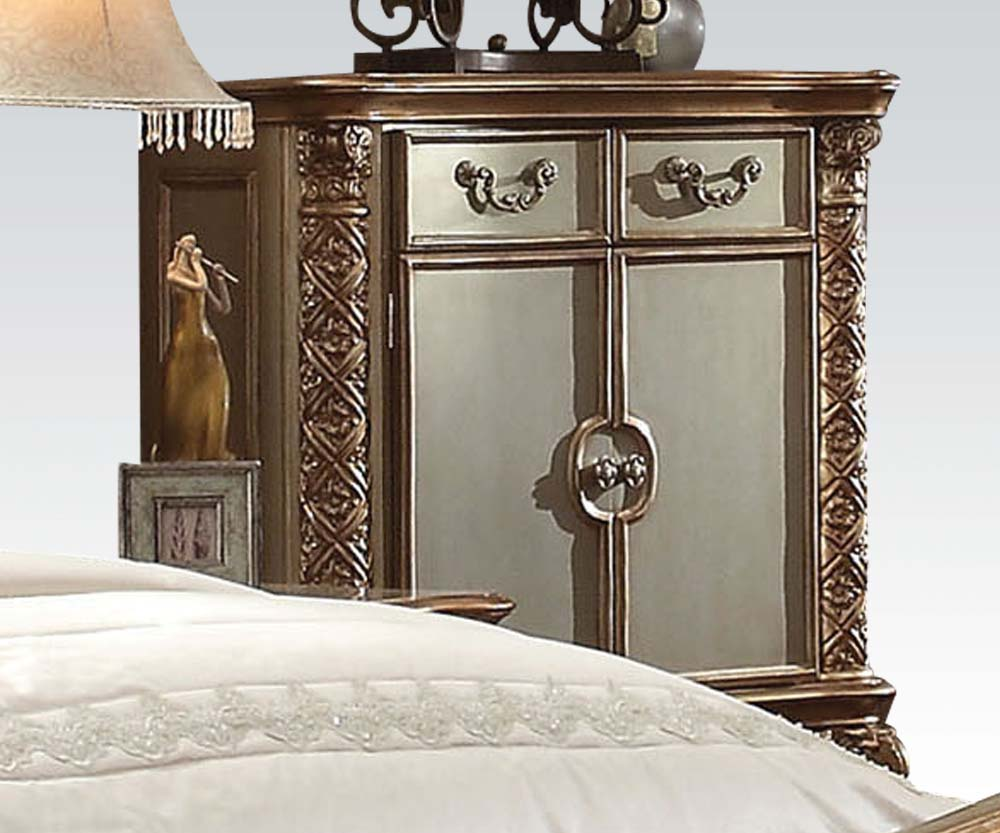 Acme Vendome Traditional Gold Patina Bone Drawer Door Chest