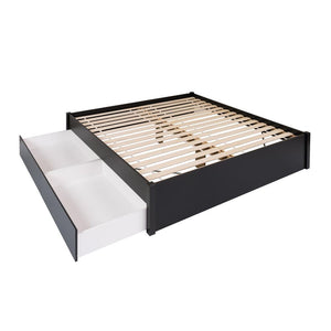 Prepac Select Black Wood Finish Eastern King Platform Bed With 2 Drawers