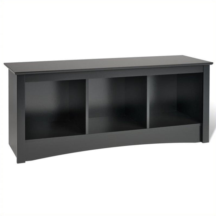 Prepac Sonoma Black Wood Finish Cubby Bed Bench