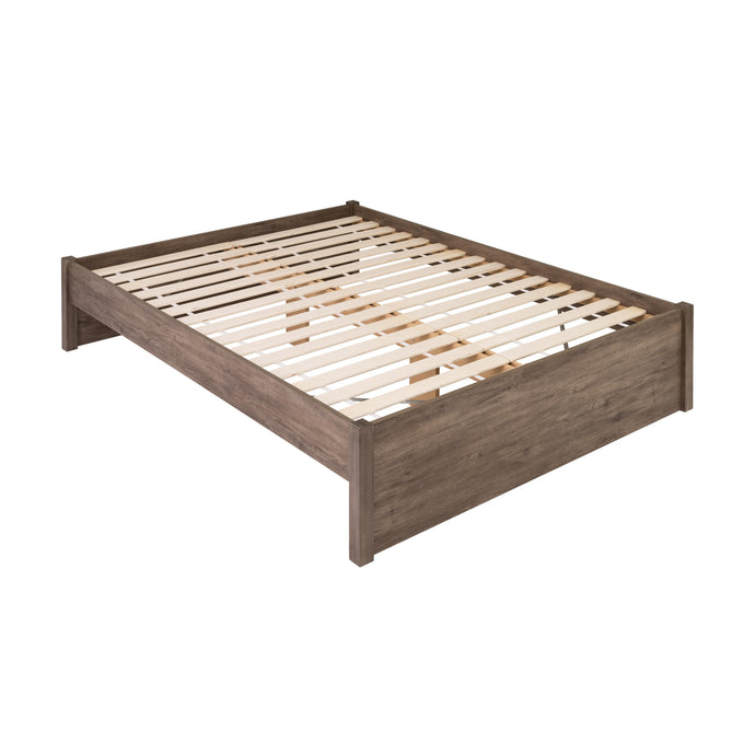 Prepac Select 4 Post Drifted Gray Wood Finish Queen Bed
