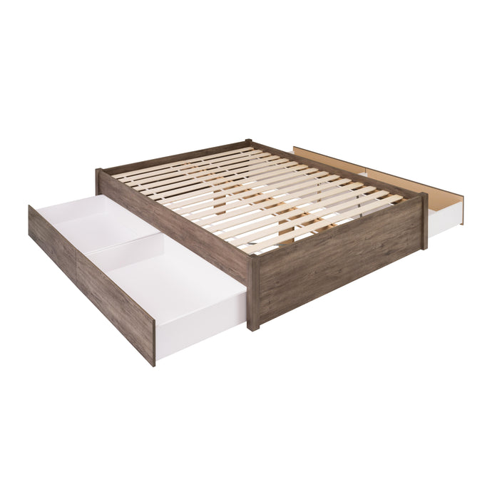 Prepac Select 4 Post Drifted Gray Wood Finish Queen Bed 4 Drawer