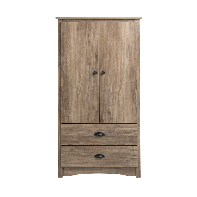 Prepac Salt Spring Gray Wood Finish Armoire
