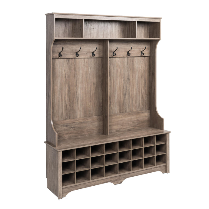 Prepac Salt Spring Gray Wood Finish Coat Rack With 24 Compartment Shoes Cabinet