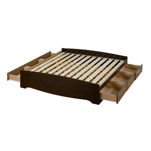 Prepac Coal Harbor Espresso Wood Finish Queen Storage Bed