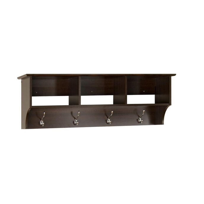 Prepac Fremont Espresso Wood Finish Wall Mounted Coat Rack