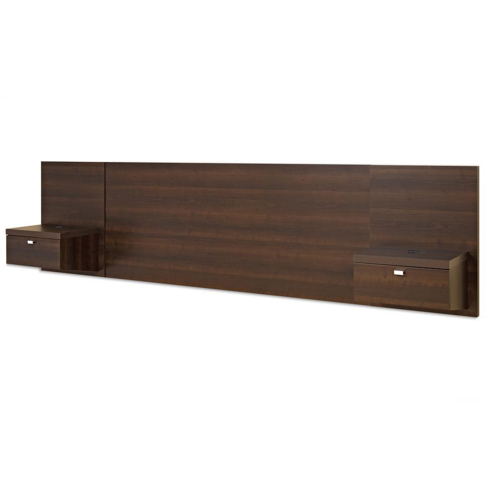 Prepac Series 9 Espresso Wood Finish King Headboard With 2 Nightstand