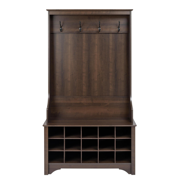 Prepac Espresso Wood Finish Coat Rack With Shoes Storage Cabinet