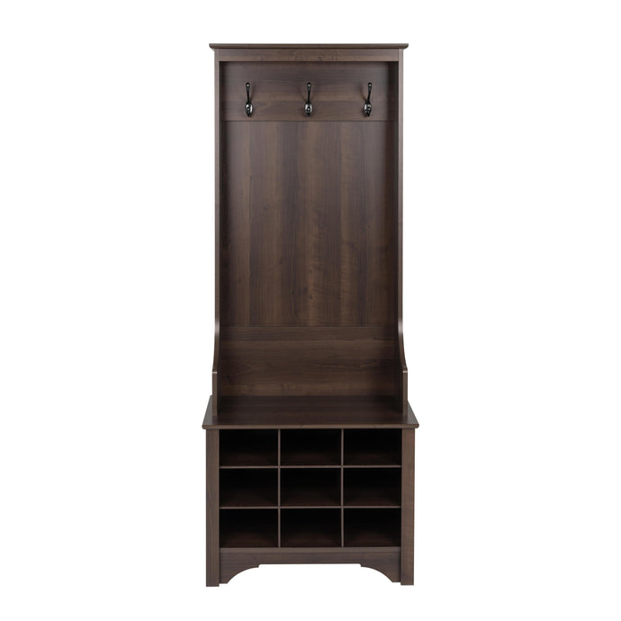 Prepac Espresso Wood Finish Coat Rack With 9 Pairs Shoes Cabinet