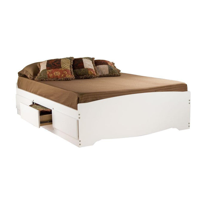 Prepac Monterey White Wood Finish Full Storage Bed
