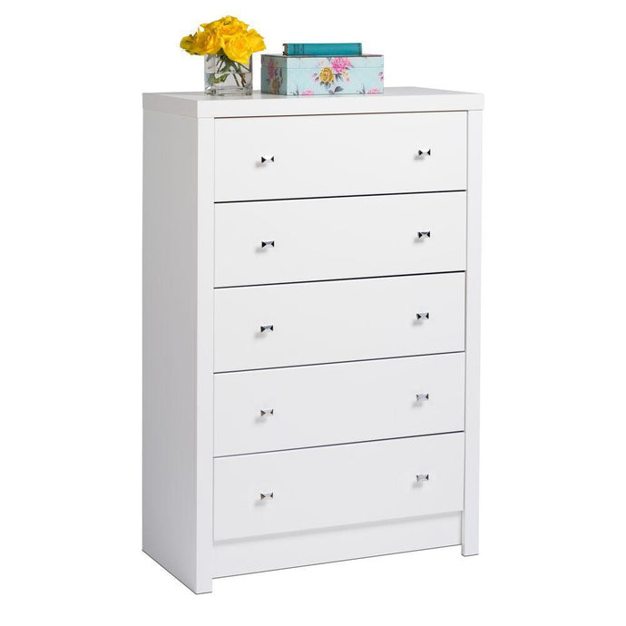 Prepac Calla White Wood Finish 5 Drawer Chest
