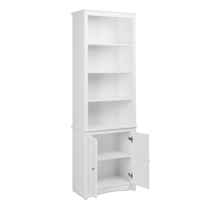Prepac White Wood Finish 6 Shelf Bookcase With Door